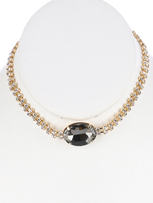 NECKLACE / DOUBLE LAYER RHINESTONE CHOKER / FACETED GLASS STONE / METAL LINK / 12 INCH LONG / 1/4 INCH DROP / NICKEL AND LEAD COMPLIANT