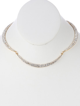 NECKLACE / PAVE CRYSTAL STONE / CRESCENT METAL CHOKER / SEGMENTED / LINK / ROLO CHAIN / 12 INCH LONG / 1/4 INCH DROP / NICKEL AND LEAD COMPLIANT