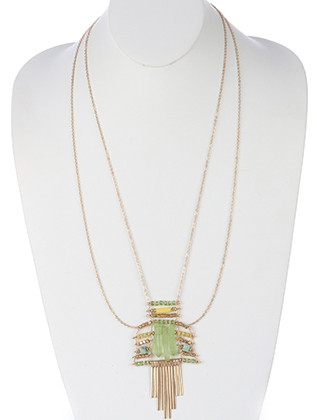 NECKLACE / NATURAL STONE / METAL FRINGE LAYERED / MATTE FINISH / METALLIC BEAD / GLASS BEAD / LINK / DOUBLE CHAIN / 28 INCH LONG / 4 1/4 INCH DROP / NICKEL AND LEAD COMPLIANT