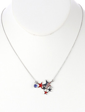 NECKLACE / STARS AND STRIPES / CHARM / EPOXY COATED METAL / RED WHITE AND BLUE / AMERICAN FLAG / PATRIOTIC / GLASS STONE CHARM / LINK / CHAIN / 18 INCH LONG / 1 INCH DROP / NICKEL AND LEAD COMPLIANT