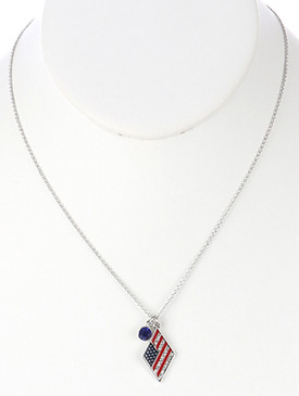 NECKLACE / STARS AND STRIPES / CHARM / EPOXY COATED METAL / RED WHITE AND BLUE / AMERICAN FLAG / PATRIOTIC / GLASS STONE CHARM / PAVE CRYSTAL STONE / LINK / CHAIN / 18 INCH LONG / 1 INCH DROP / NICKEL AND LEAD COMPLIANT