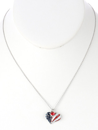 NECKLACE / STARS AND STRIPES / HEART CHARM / EPOXY COATED METAL / RED WHITE AND BLUE / AMERICAN FLAG / PATRIOTIC / GLASS STONE CHARM / LINK / CHAIN / 18 INCH LONG / 2/3 INCH DROP / NICKEL AND LEAD COMPLIANT