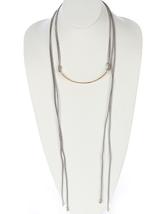 NECKLACE / ARCHED METAL / FAUX SUEDE ADJUSTABLE / METALLIC BEAD / MATTE FINISH / HAMMERED / DOUBLE STRAND / 12 INCH LONG / 20 INCH DROP / NICKEL AND LEAD COMPLIANT