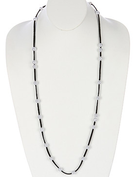 NECKLACE / PEARL FAUX SUEDE / LONG / 38 INCH LONG / 1/3 INCH DROP / NICKEL AND LEAD COMPLIANT