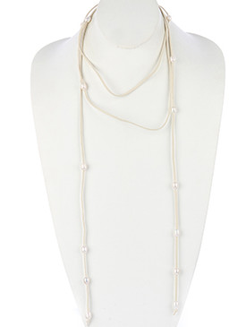 NECKLACE / FAUX SUEDE / PEARL BEAD WRAPAROUND / OPEN END / 84 INCH LONG / NICKEL AND LEAD COMPLIANT