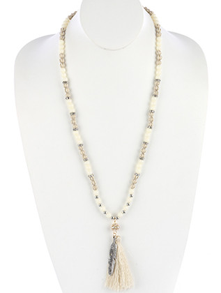 NECKLACE / AGED FINISH METAL / FEATHER AND TASSEL / LUCITE / METALLIC BEAD / CRYSTAL STONE / 32 INCH LONG / 4 INCH DROP / NICKEL AND LEAD COMPLIANT