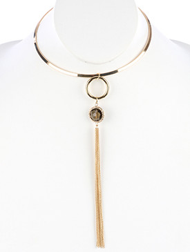 NECKLACE / LONG CHAIN TASSEL / METAL CHOKER / IRIDESCENT STONE CHARM / TEXTURED METAL FRAME / 5 INCH DIAMETER / 7 1/3 INCH DROP / NICKEL AND LEAD COMPLIANT