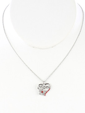 NECKLACE / PAVE CRYSTAL STONE / HEART CHARM / MESSAGE / MOM / METAL FLOWER / CUTOUT / LINK / CHAIN / 16 INCH LONG / 2/3 INCH DROP / NICKEL AND LEAD COMPLIANT