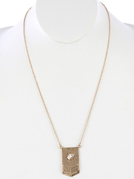 NECKLACE / MATTE FINISH METAL / LAYERED CHEVRON PENDANT / TWO TONE / WIRE WRAPPED / LINK / CHAIN / 24 INCH LONG / 1 3/4 INCH DROP / NICKEL AND LEAD COMPLIANT