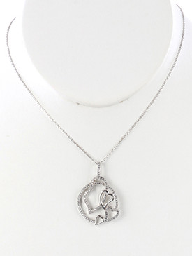 NECKLACE / PREMIUM CUBIC ZIRCONIA / PENDANT / INTERLINKED MULTI HEART / ROUND RING FRAME / LINK / CHAIN / 16 INCH LONG / 1 3/8 INCH DROP / NICKEL AND LEAD COMPLIANT