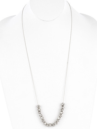 NECKLACE / MATTE FINISH / HAMMERED METAL BEAD / LINK / CHAIN / 32 INCH LONG / 1/3 INCH DROP / NICKEL AND LEAD COMPLIANT