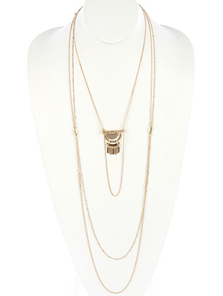 NECKLACE / HALF MOON METAL / THREE LAYER CHAIN / METAL FRINGE / LINK / CHAIN / 22 INCH LONG / 11 INCH DROP / NICKEL AND LEAD COMPLIANT