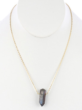 NECKLACE / NATURAL SHIMMER STONE / PENDANT / LINK / CHAIN / 20 INCH LONG / 1 1/2 INCH DROP / NICKEL AND LEAD COMPLIANT