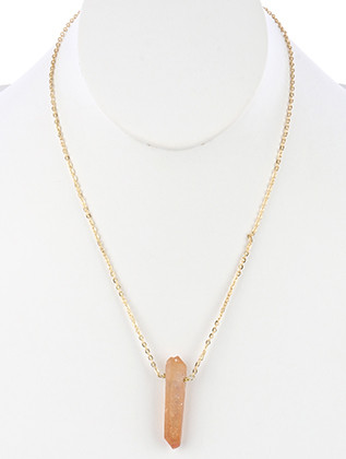 NECKLACE / NATURAL STONE / PENDANT / LINK / CHAIN / 20 INCH LONG / 1 1/2 INCH DROP / NICKEL AND LEAD COMPLIANT