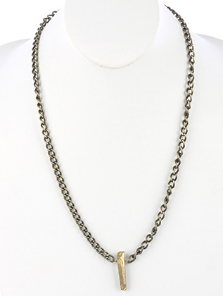 NECKLACE / AGED FINISH METAL / NATURAL STONE PENDANT / LINK / CURB CHAIN / 26 INCH LONG / 1 1/2 INCH DROP / NICKEL AND LEAD COMPLIANT