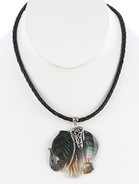 NECKLACE / OYSTER SHELL FINISH / ELEPHANT PENDANT / FILIGREE METAL SETTING / BRAIDED CORD / 16 INCH LONG / 2 1/2 INCH DROP / NICKEL AND LEAD COMPLIANT