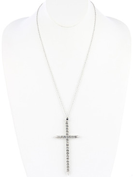 NECKLACE / METAL SPIKED / CROSS PENDANT / CRYSTAL STONE / LINK / CHAIN / 26 INCH LONG / 5 INCH DROP / NICKEL AND LEAD COMPLIANT