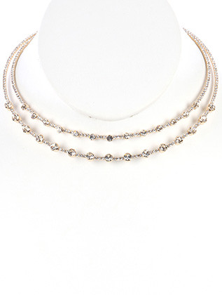 NECKLACE / DOUBLE LAYER RHINESTONE / WIRE CHOKER / CRYSTAL STONE / WEDDING / FORMAL / 4 1/2 INCH DIAMETER / 1/2 INCH DROP / NICKEL AND LEAD COMPLIANT