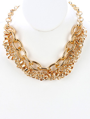 NECKLACE / BRAIDED CHAIN / CHUNKY LINK BIB / DOUBLE LAYER / BOX CHAIN / ROLO CHAIN / CURB CHAIN / 16 INCH LONG / 1 INCH DROP / NICKEL AND LEAD COMPLIANT