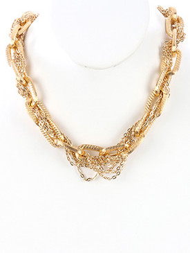 NECKLACE / INTERLACED MULTI CHAIN / CHUNKY LINK BIB / TEXTURED / 18 INCH LONG / 3/4 INCH DROP / NICKEL AND LEAD COMPLIANT
