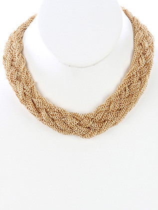 NECKLACE / BRAIDED MULTI CHAIN / BIB / 14 INCH LONG / 1 1/4 INCH DROP / NICKEL AND LEAD COMPLIANT