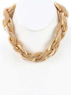 NECKLACE / INTERLACED MULTI CHAIN / CHUNKY LINK CHOKER / TEXTURED / 12 INCH LONG / 1 INCH DROP / NICKEL AND LEAD COMPLIANT