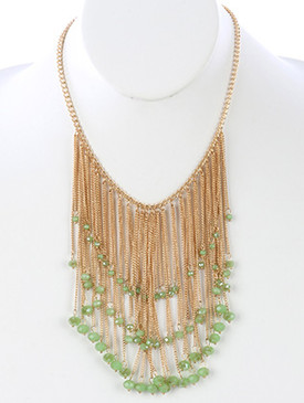 NECKLACE / LONG CHAIN FRINGE BIB / IRIDESCENT GLASS BEAD CHARM / LINK / CHAIN / 18 INCH LONG / 5 INCH DROP / NICKEL AND LEAD COMPLIANT