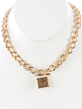 NECKLACE / CUTOUT HOLLOW METAL / LOCK PENDNAT / TOGGLE CLOSURE / LINK / CURB CHAIN / 16 INCH LONG / 1 1/2 INCH DROP / NICKEL AND LEAD COMPLIANT