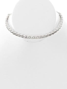 NECKLACE / BRAIDED PATTERN / METAL CHOKER / 5 INCH DIAMETER / 1/8 INCH DROP / NICKEL AND LEAD COMPLIANT