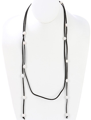 NECKLACE / FAUX SUEDE CORD / PEARL / WRAPAROUND / MULTI PURPOSE / OPEN END / TIE CLOSURE / 68 INCH LONG / NICKEL AND LEAD COMPLIANT