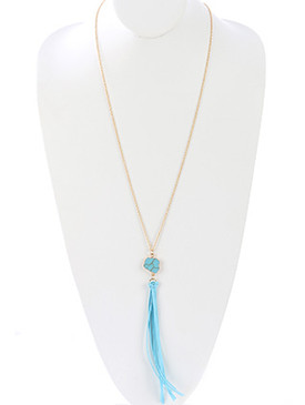 NECKLACE / FAUX SUEDE TASSEL / NATURAL STONE PENDANT / METALLIC FRAME / LINK / CHAIN / 36 INCH LONG / 7 1/2 INCH DROP / NICKEL AND LEAD COMPLIANT