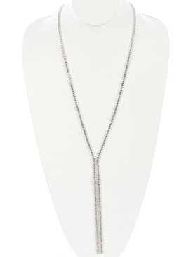 NECKLACE / CRYSTAL STONE / DOUBLE BALL CHAIN / METAL SETTING / 32 INCH LONG / 7 INCH DROP / NICKEL AND LEAD COMPLIANT