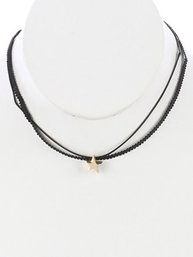 NECKLACE / METAL CROSS CHARM / TWO STRAND CHOKER / RIBBON / CORD / 12 INCH LONG / 1/2 INCH DROP / NICKEL AND LEAD COMPLIANT