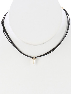 NECKLACE / METAL STAR CHARM / TWO STRAND CHOKER / RIBBON / CORD / 12 INCH LONG / 3/8 INCH DROP / NICKEL AND LEAD COMPLIANT