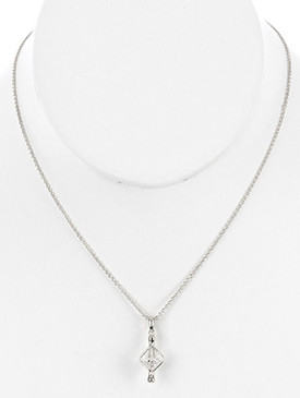NECKLACE / PREMIUM CUBIC ZIRCONIA / CHARM / METAL SETTING / LINK / CHAIN / 16 INCH LONG / 1 INCH DROP / NICKEL AND LEAD COMPLIANT