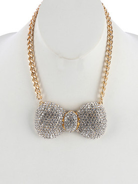 NECKLACE / PAVE CRYSTAL STONE / METAL BOW BIB / LINK / CURB CHAIN / 14 INCH LONG / 2 1/8 INCH DROP / NICKEL AND LEAD COMPLIANT