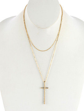 NECKLACE / METAL CROSS PENDANT / DOUBLE LAYER CHAIN / PAVE CRYSTAL STONE / 18 INCH LONG / 5 2/3 INCH DROP / NICKEL AND LEAD COMPLIANT