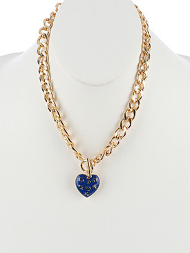 NECKLACE / HOLLOW METAL HEART / PENDANT / EPOXY COATED / ANCHOR PATTERN / CUTOUT / TOGGLE CLOSURE / LINK / CURB CHAIN / 18 INCH LONG / 1 1/2 INCH DROP / NICKEL AND LEAD COMPLIANT