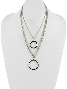 NECKLACE / METAL RING PENDANT / DOUBLE LAYER CHAIN / ROPE CHAIN / 18 INCH LONG / 5 INCH DROP / NICKEL AND LEAD COMPLIANT