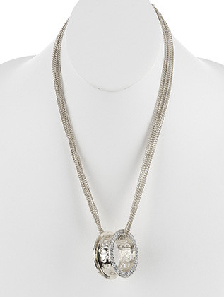 NECKLACE / METAL BARREL PENDANT / MULTI CHAIN / PAVE CRYSTAL STONE / CUTOUT MESSAGE / BOSS / 22 INCH LONG / 1 3/4 INCH DROP / NICKEL AND LEAD COMPLIANT