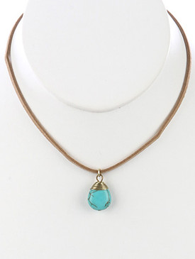 NECKLACE / NATURAL STONE / TEARDROP PENDANT / FAUX SUEDE STRAND / 14 INCH LONG / 1 INCH DROP / NICKEL AND LEAD COMPLIANT