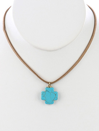 NECKLACE / NATURAL STONE / CROSS PENDANT / FAUX SUEDE STRAND / 14 INCH LONG / 1 INCH DROP / NICKEL AND LEAD COMPLIANT