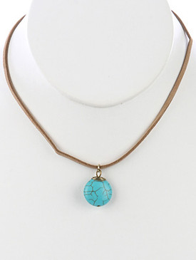 NECKLACE / NATURAL STONE / ROUND PENDANT / FAUX SUEDE STRAND / 14 INCH LONG / 1 INCH DROP / NICKEL AND LEAD COMPLIANT