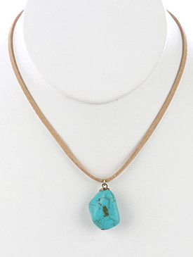 NECKLACE / NATURAL STONE / PENDANT / FAUX SUEDE STRAND / 14 INCH LONG / 1 1/4 INCH DROP / NICKEL AND LEAD COMPLIANT