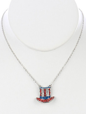 NECKLACE / STARS AND STRIPES / UNCLE SAM HAT PENDANT / EPOXY COATED METAL / RED WHITE AND BLUE / PAVE CRYSTAL STONE / LINK / CHAIN / 16 INCH LONG / 3/4 INCH DROP / NICKEL AND LEAD COMPLIANT
