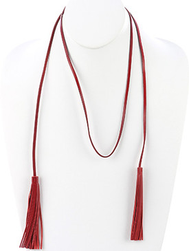 NECKLACE / FAUX LEATHER TASSEL / OPEN END / 48 INCH LONG / 4 1/4 INCH DROP / NICKEL AND LEAD COMPLIANT