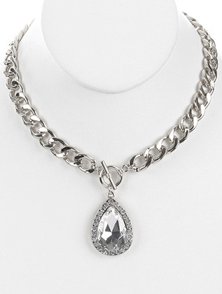 NECKLACE / FACETED GLASS STONE / TEARDROP METAL PENDANT / PAVE CRYSTAL STONE / CHUNKY LINK / CURB CHAIN / TOGGLE CLOSURE / 18 INCH LONG / 2 INCH DROP / NICKEL AND LEAD COMPLIANT