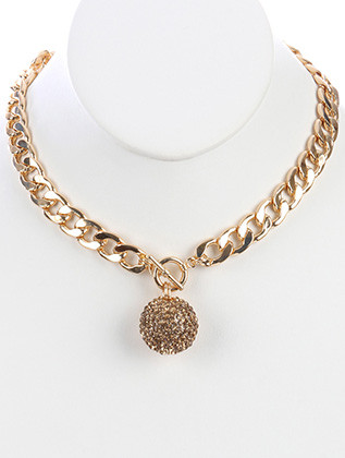 NECKLACE / PAVE CRYSTAL STONE / HOLLOW METAL PENDANT / CUTOUT / LINK / CURB CHAIN / 18 INCH LONG / 2 INCH DROP / NICKEL AND LEAD COMPLIANT