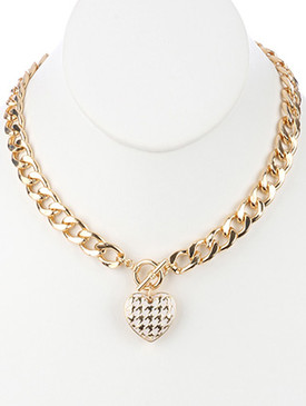 NECKLACE / HOLLOW METAL CHARM / CHUNKY CURB CHAIN / EPOXY COAT / HOUNDSTOOTH PATTERN / CUTOUT HEART / TOGGLE CLOSURE / 18 INCH LONG / 1 1/4 INCH DROP / NICKEL AND LEAD COMPLIANT