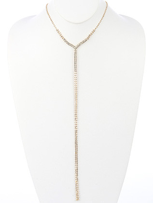 NECKLACE / RHINESTONE / DOUBLE CHAIN Y / 18 INCH LONG / 12 INCH DROP / NICKEL AND LEAD COMPLIANT